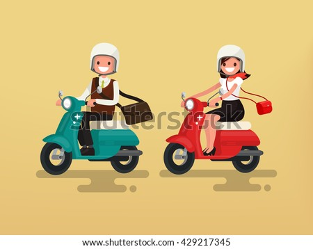Man and woman riding on their motorbikes. Vector illustration of a flat design - stock vector
