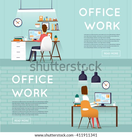 Man and woman sitting at the table and working on the computer. Business, office work, workplace. Flat design vector illustration. - stock vector