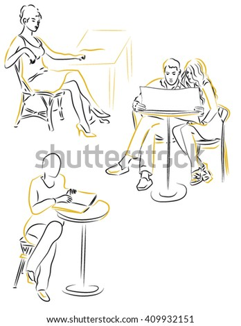 man and woman sitting in a cafe - stock vector