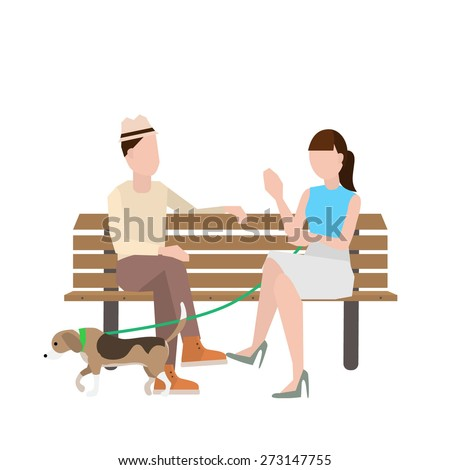man and woman sitting on bench with a dog vector illustration. - stock vector