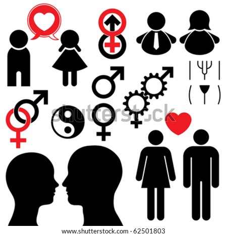 Man and woman symbol set couple - stock vector