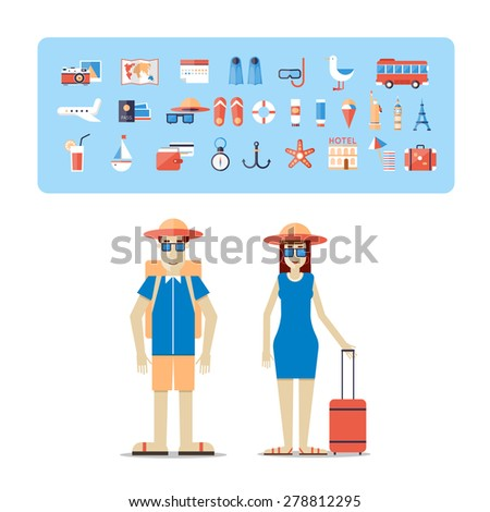 Man and woman together on a trip. World Travel. Planning summer vacations. Summer holiday. Tourism and vacation theme. Flat design vector illustration. - stock vector