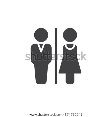 Man and Woman toilet icon vector  filled flat sign  solid pictogram  isolated on white. Toilet Icon Vector Solid Logo Illustration Stock Vector 422427715