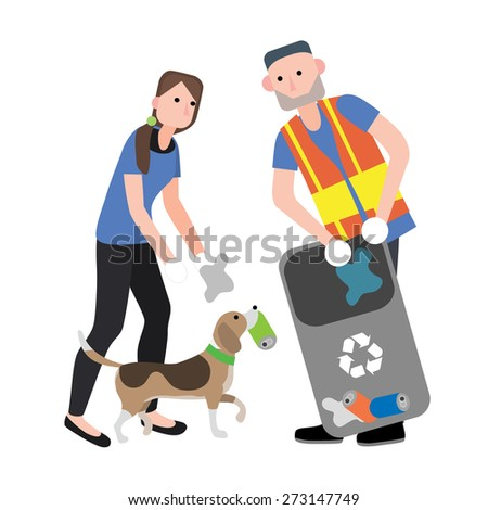 man and woman trash volunteer with dog vector isolate on white background. - stock vector