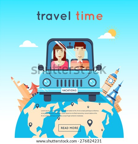 Man and woman traveling by car, Egypt, USA, Japan, France, England, Italy. World Travel. Planning summer vacations. Summer holiday. Tourism and vacation theme. Flat design vector illustration. - stock vector