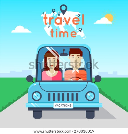 Man and woman traveling by car. World Travel. Planning summer vacations. Summer holiday. Tourism and vacation theme. Flat design vector illustration.