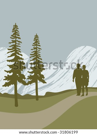 man and woman walking in the countryside, with space for text. - stock vector