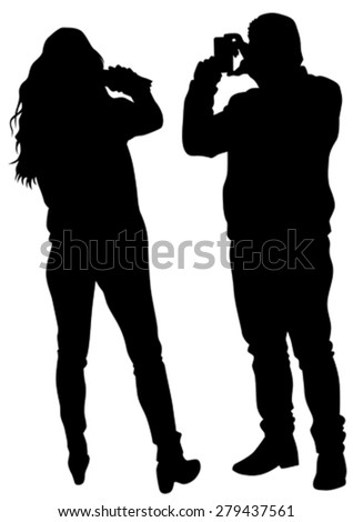 Man and woman with a camera on white background - stock vector
