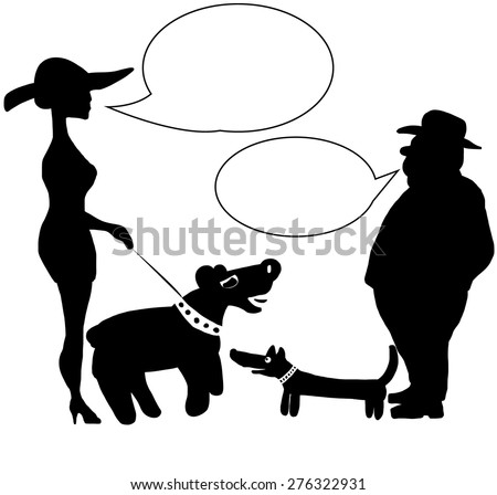 Man and woman with the dogs talking on meeting