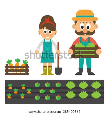 man and woman with vegetables and garden - stock vector