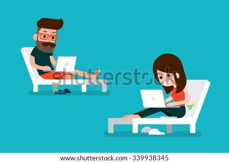 Man and woman working on computer. - stock vector