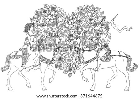 man and women as fairy tale princess and prince from on floral ornament. Zentangle interpretation. Black and white. Vector illustration could be use for coloring book, wedding or valentines day cards - stock vector