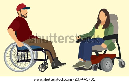 Man ands Woman in Wheelchair - stock vector