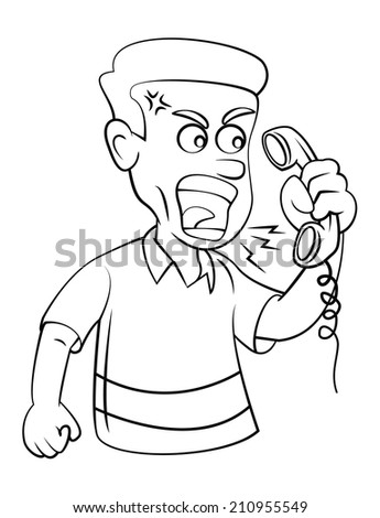 Man Angry With Telephone - stock vector