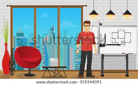 Man architect working with Blueprint at Office or studio. Architecture constructor builder man. Engineering occupation. - stock vector