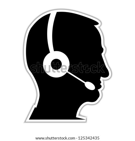man as a call centre staff - illustration - stock vector