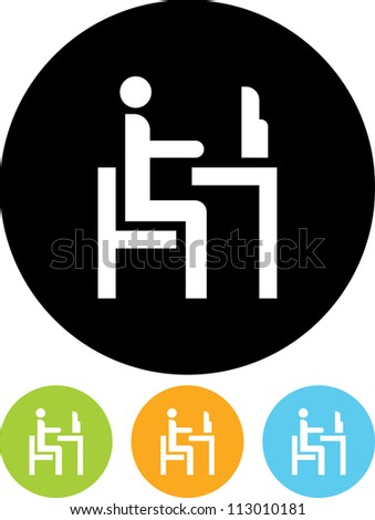 Man at the Computer Table - Vector icon isolated - stock vector