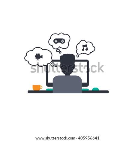 man at work back view - designer programmer computer theme - stock vector