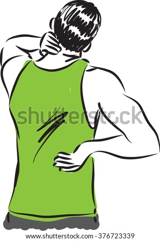 man back and neck pain illustration - stock vector