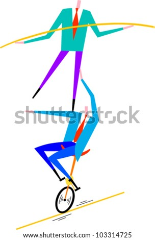 Man balancing on shoulder of man on unicycle on tightrope - stock vector