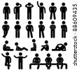 Man Basic Posture People Sitting Standing Icon Sign Symbol Pictogram - stock