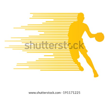 Man basketball player vector background concept made of colorful stripes - stock vector