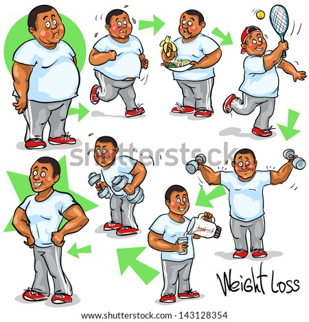 Man Before After Weight Loss Program Stock Vector ...