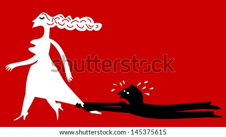 Man begs to a woman - stock vector