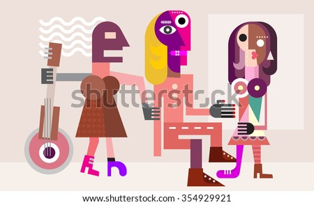 Man between two women. Love triangle. Modern fine art picture, vector illustration. - stock vector