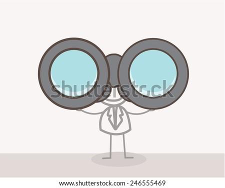 Man Binoculars Doodle - stock vector