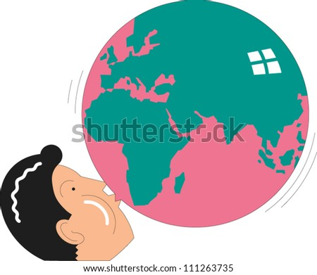 Man blowing up a balloon with the outline of the continents on it - stock vector