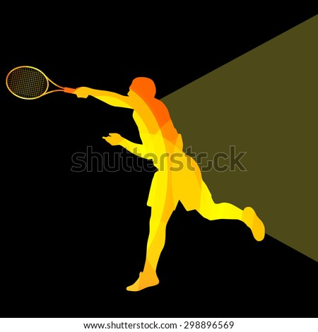 Man, boy tennis silhouette vector background colorful concept made of transparent curved shapes - stock vector