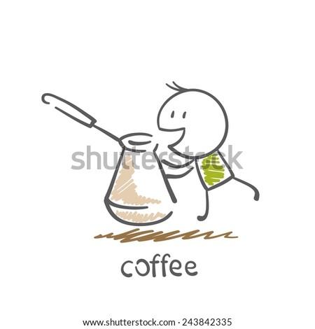 man brews coffee illustration - stock vector