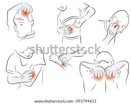man brushing the body, head, abdomen, arms, back, scabies, itching - stock vector