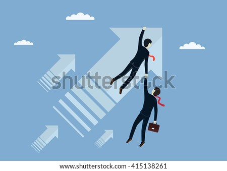 Man businessman flies forward and holding partner. Do not throw a partner in trouble. Vector illustration. - stock vector