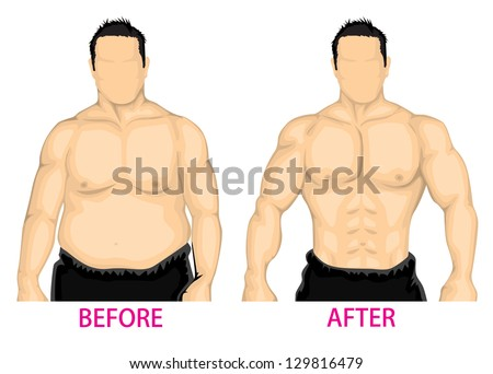Man bust before and after diet poses