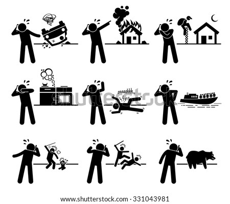 Man Calling Emergency Call with Phone for Road Accident, Fire, Theft, Gas Leak, Poison, Medical Problem, Coast Guard, Child Abuse, Violence, and Animal Control Department for Help - stock vector