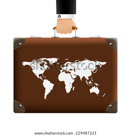 man carries a suitcase - stock vector