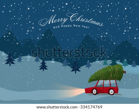 Man carries a Xmas Tree by the car on winter night background for Merry Christmas and Happy New Year celebrations. - stock vector