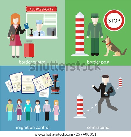 Man carries contraband in bag. Migration control. Group of people with stamps in passports. Woman gives a passport to check customs officers. Customs officer with dog at customs post  - stock vector
