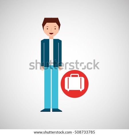 man cartoon concept travel and suitcase design, vector illustration  graphic