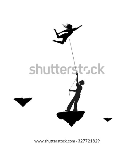 Man catching the fairy woman and holding she on the thread, scene from the fairytale in the dreamland, black and white, vector,