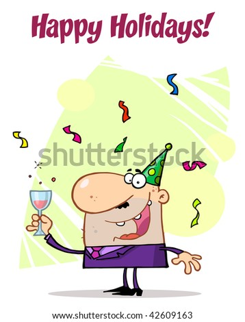 Man Celebrating Happy Holidays! - stock vector