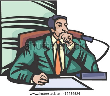 Man Character - sitting professional young male works and speaks in office room on white and blue background : vector illustration - stock vector