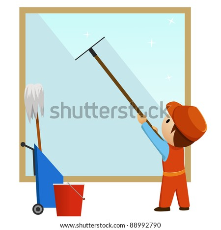 Man cleaning and wash window with bucket. Vector illustration - stock vector