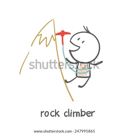 man climbing illustration - stock vector