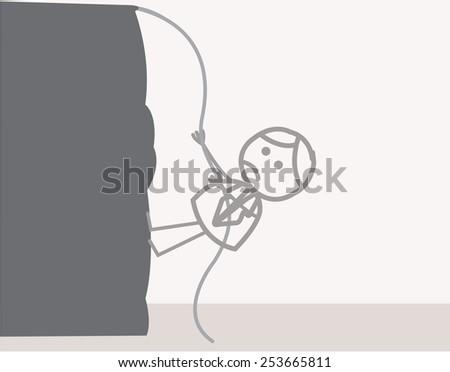 man climbing mountain - stock vector