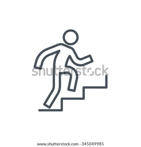 Man climbing up stairs icon suitable for info graphics, websites and print media. Colorful vector, flat icon, clip art. - stock vector