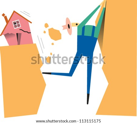 Man clings to the edge of a cliff as a chasm opens up during an earthquake - stock vector
