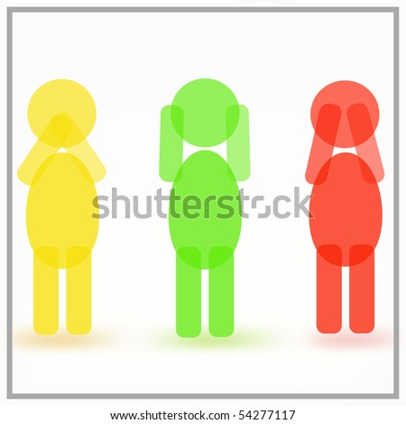 Man closing his ears, eyes and mouth in turn - stock vector